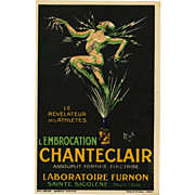 Lightning Man L'Embrocation Chanteclair French Art Deco Artist Signed Advertising Postcard