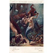 Mermaids Amid the Treasure Paris Salon 1913 Antique French Lithograph Postcard