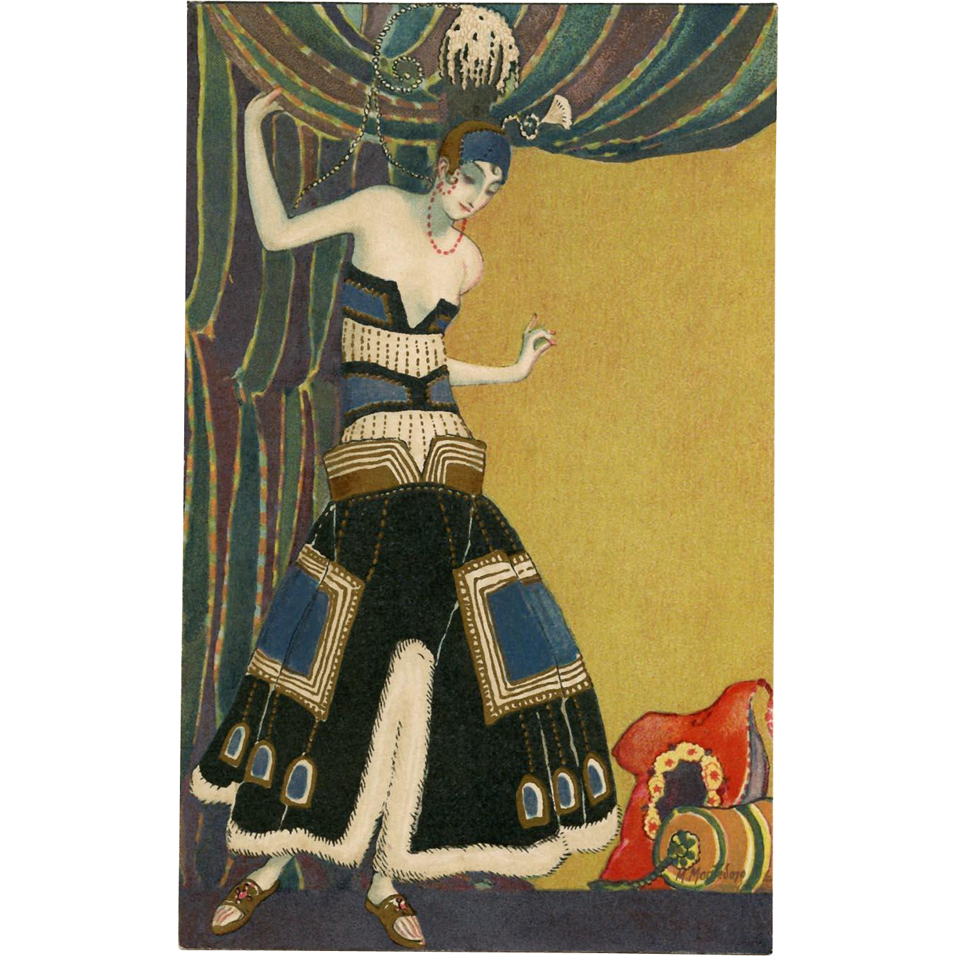 Art Deco Fashion Postcard by Italian Artist Marco Montedoro Metallic Gold Hand Detailing