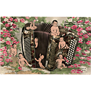 """Baby Music"" Accordion Retro Multiple Babies French Photo Collage Postcard"