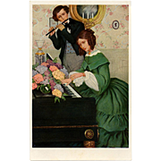 Musical Edwardian Couple Anna Whelan Betts Antique M.M. Vienne Postcard Unused Mint Condition