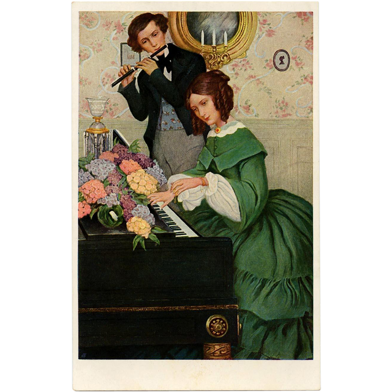 Musical Edwardian Couple Anna Whelan Betts Antique M.M. Vienne Postcard Unused Mint Condition