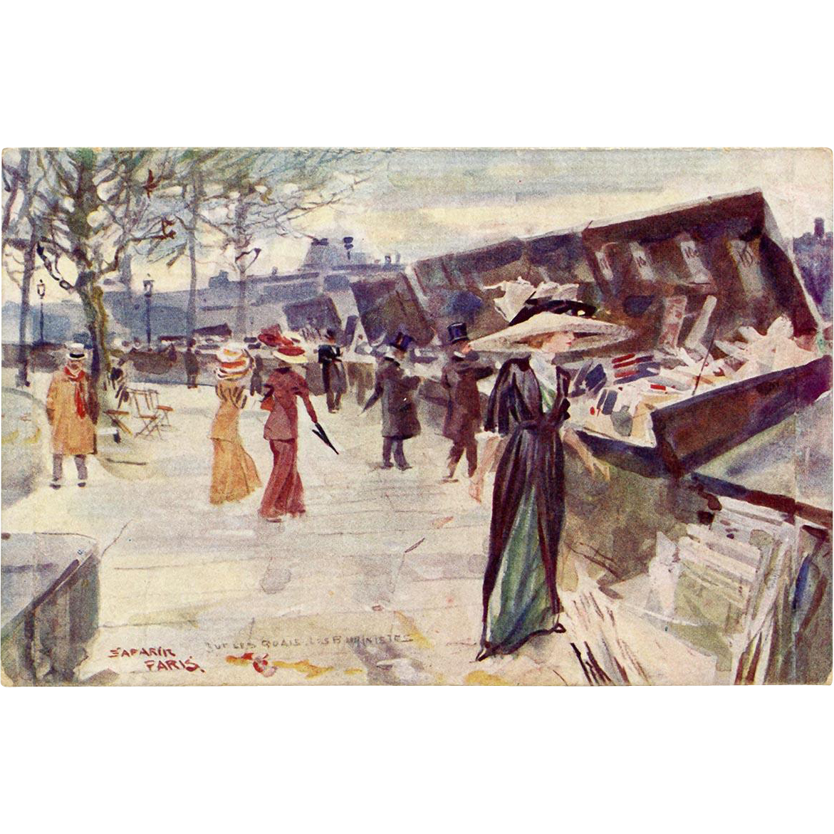 Artist Signed Shoppers Strolling Along the Quai des Bouquinistes Paris Booksellers Antique French Postcard