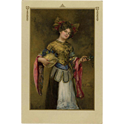 Artist Signed Portrait Postcard of French Girl in Regional Costume