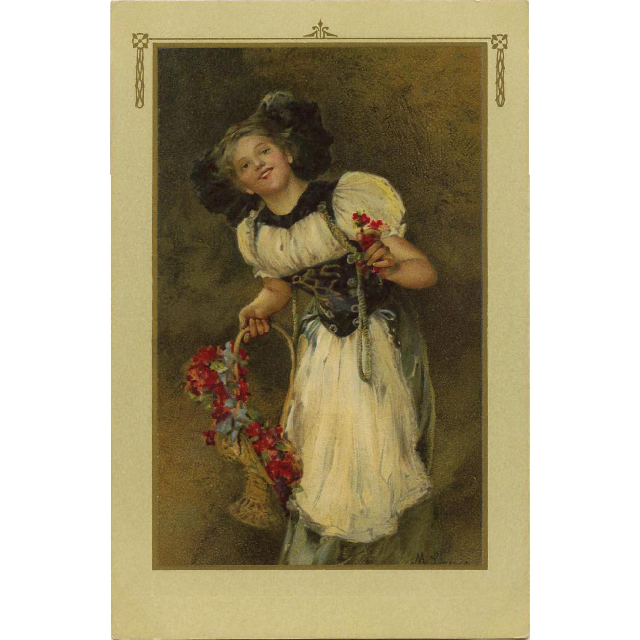 Artist Signed Portrait Postcard of French Alsatian Girl in Regional Costume