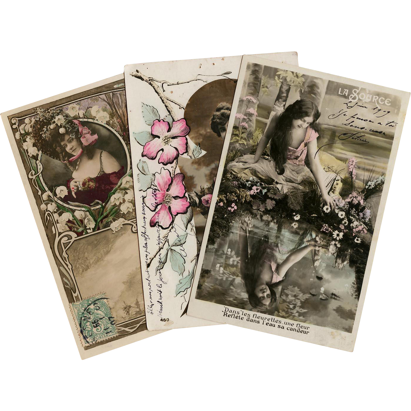 3 Art Nouveau French  Photomontage Postcards Hand Painted