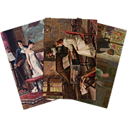 3 Antique European Postcards Lovers and Music