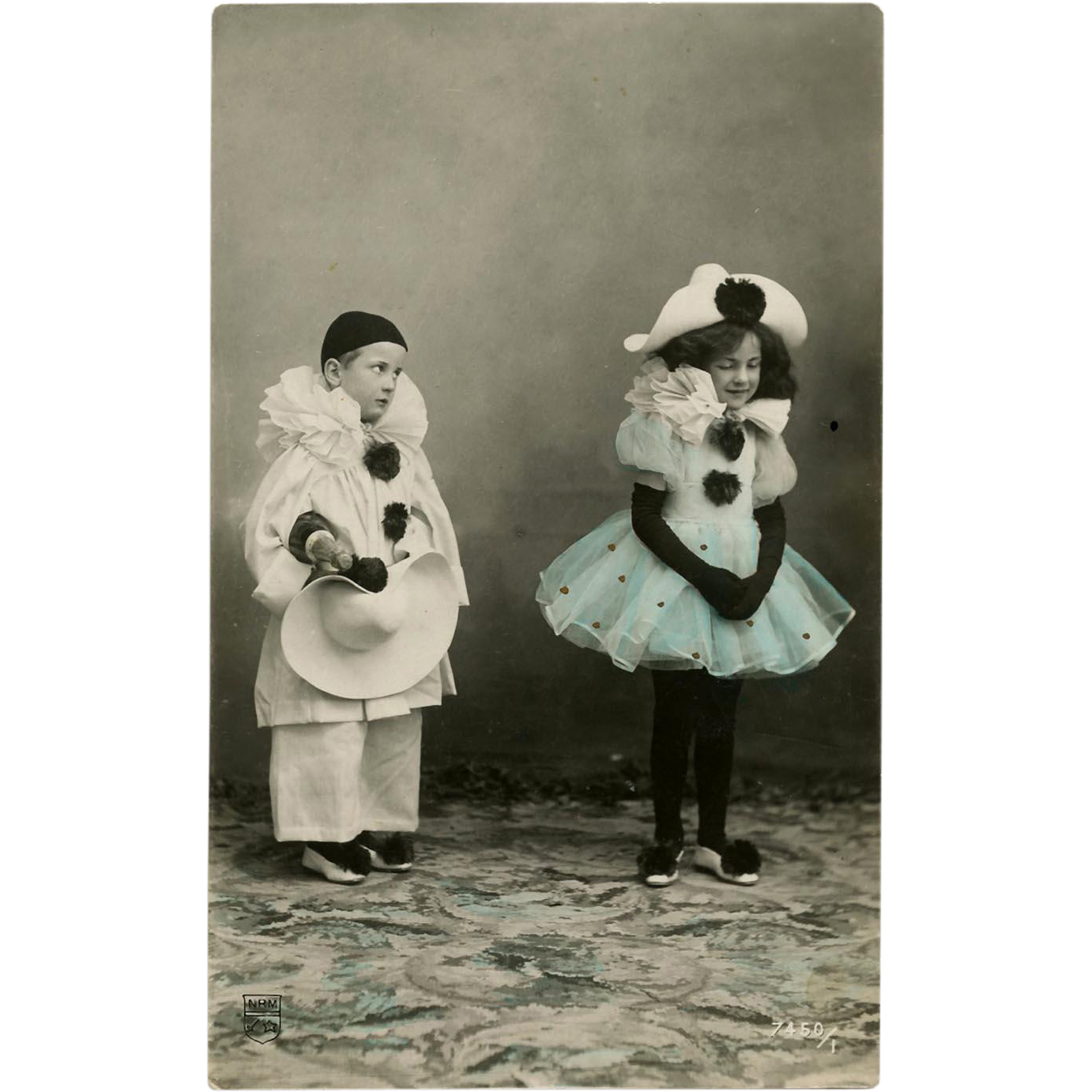 Pierrot and Columbine Children in Costumes Real Photo Postcard Hand Painted