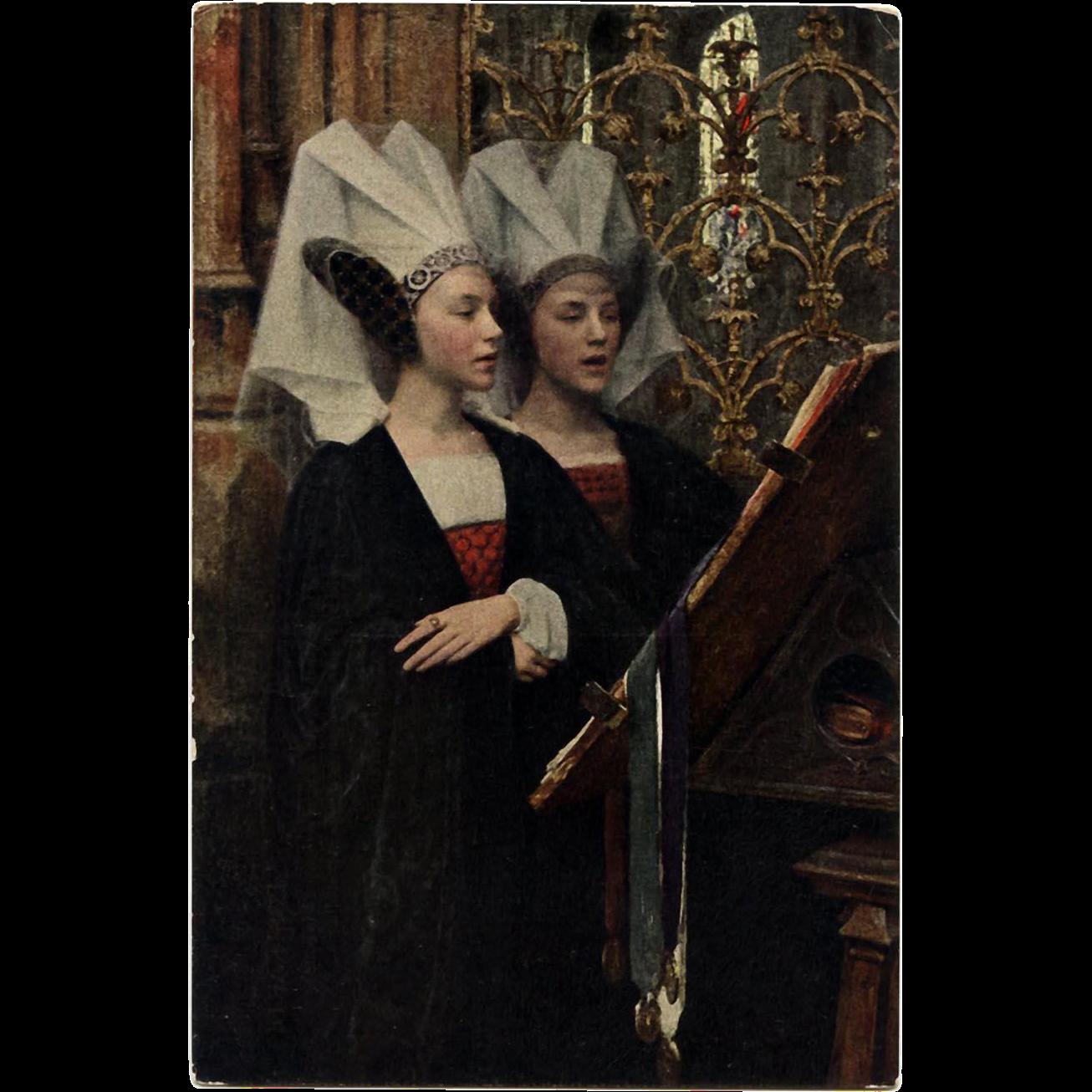 Book of Peace Paris Salon 1913 Edgard Maxence Antique French  Religious Postcard