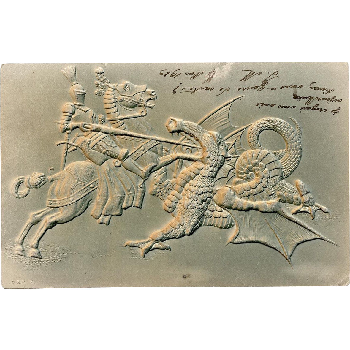 Knight on Horse Battling Dragon Embossed 1903 French German Postcard