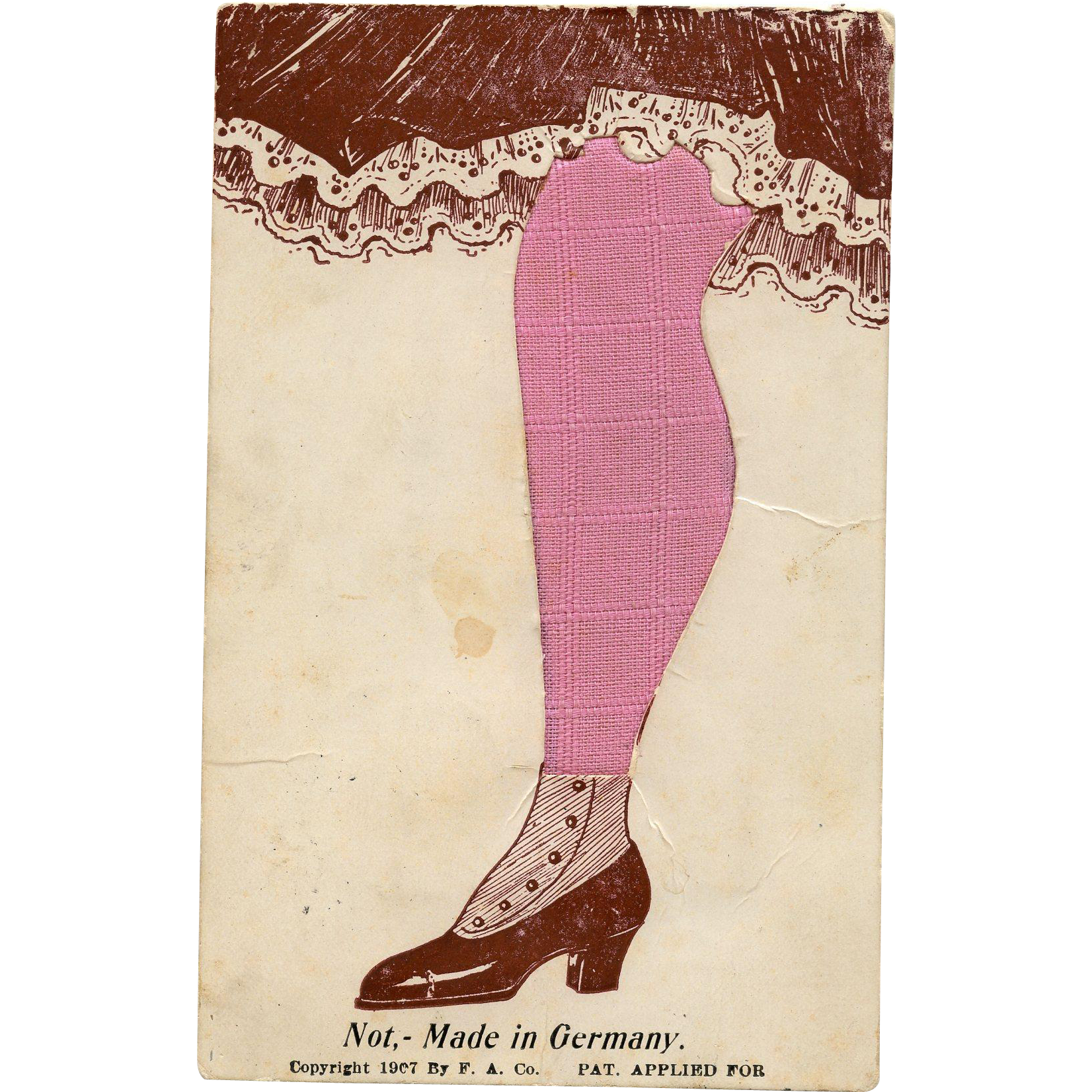 "Historical Novelty Fabric Postcard of Woman's Stocking ""Not Made in Germany"""