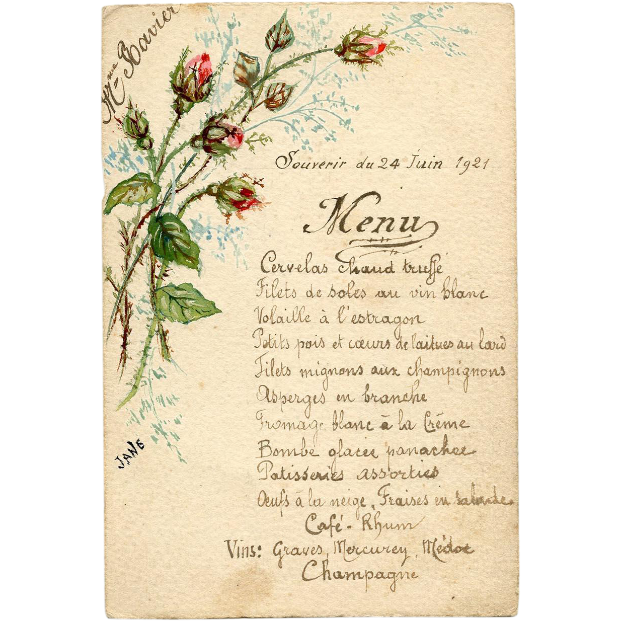 Hand Painted Rosebuds and French Script Menu with Poem Verso 1921