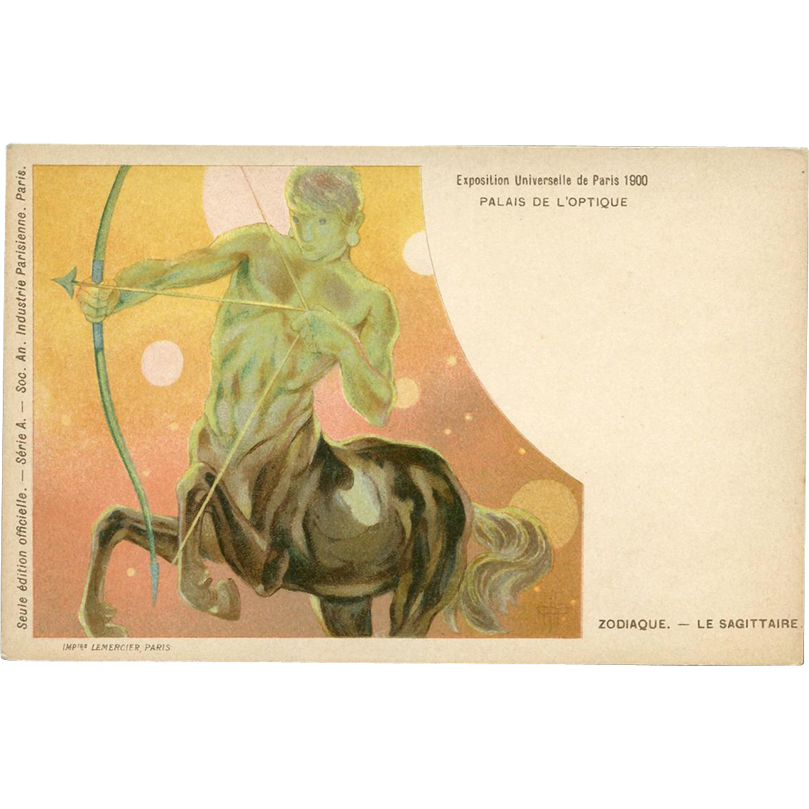 Zodiac Constellation Sagittarius Centaur Astrology Postcard Art Nouveau Lithograph from Paris Expo 1900