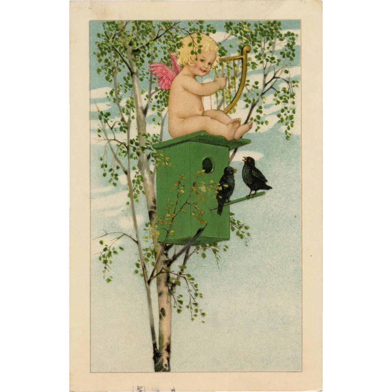 Cupid Playing Harp Atop Birdhouse in Tree Marie Flatscher Vienne Postcard
