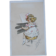 Girl Playing the Piano Illustrated Postcard by Italian Artist Elda Cenni