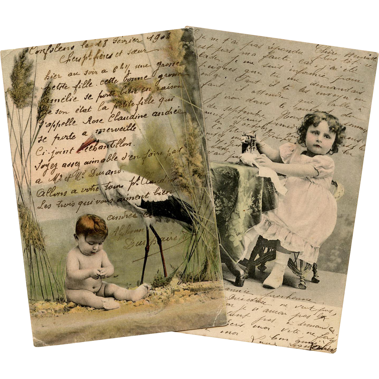 Stork Delivery and Young Seamstress Two Antique Postcards with Lots of French Script