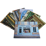7 Paris Postcards Storefronts by Urban Realist Painter André Renoux