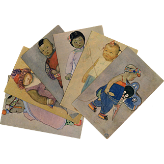 Kelly's Chinese Kiddies Series 6 Vintage Postcards c1930s Shanghai China
