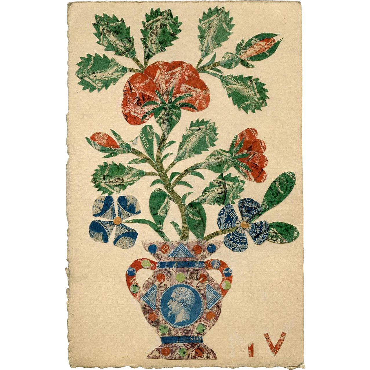 Handmade Postcard Collage from Antique French Postage Stamps Napoleon Vase and Flowers