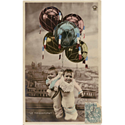 Babies and Balloons Hand Painted Antique French Photomontage Postcard