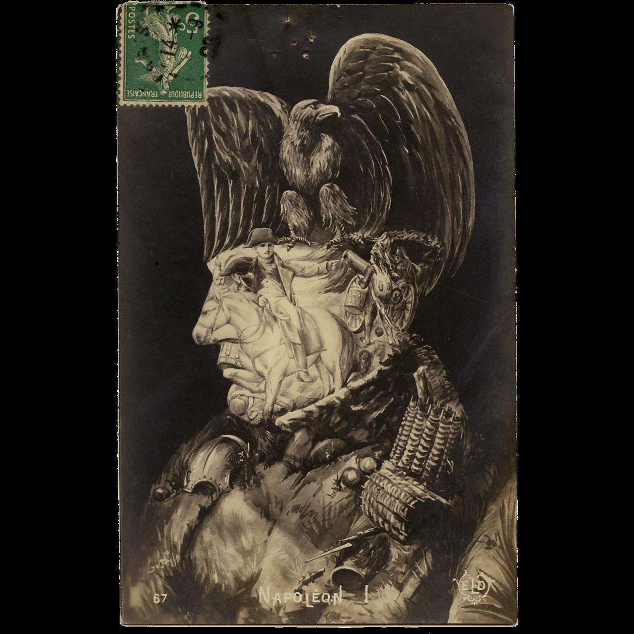 Surreal Arcimboldo Style Collage of Napoleon Bonaparte Antique French Postcard