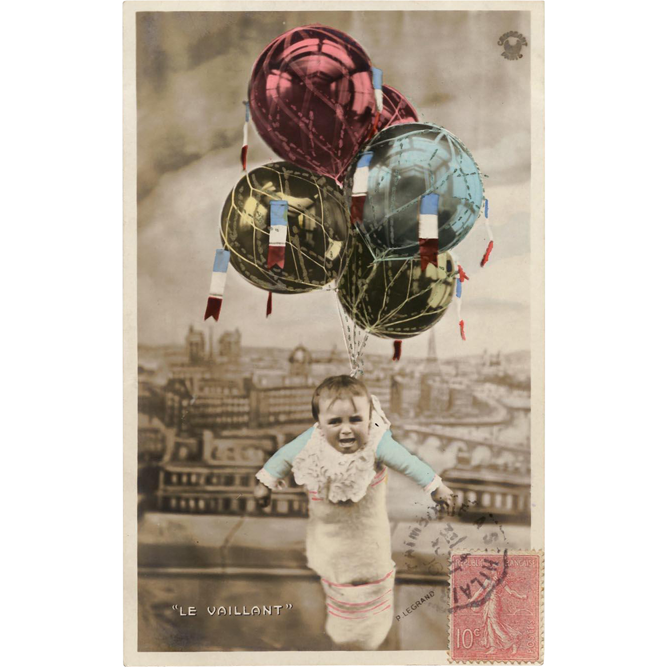 Baby Delivered by Balloon Hand Painted Gold Detailing Antique French Photomontage Postcard