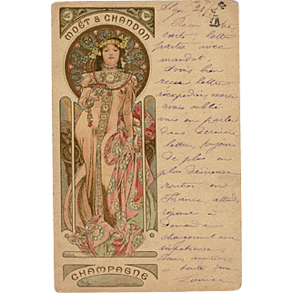 1903 Alphonse Mucha Art Nouveau Champagne Advertisement Postcard Mailed from Algeria