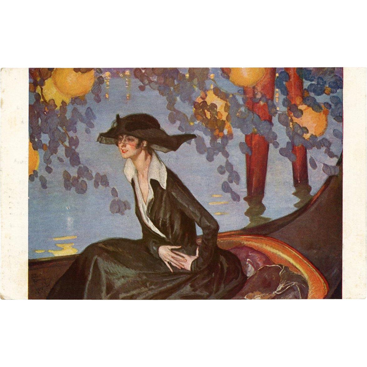 Hour of Serenade by Jean-Gabriel Domergue Salon de Paris Art Reproduction Postcard