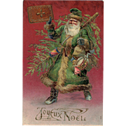 Santa in Green Coat Embossed Gold Highlights Joyeux Noel Postcard from 1905