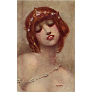 Rêverie Antique Art Reproduction Postcard by French Painter Gayac