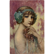 Smiling Enigma Dancer Portrait by French Painter Gayac c1917 Antique Postcard