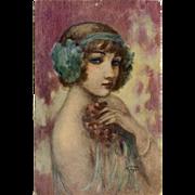 Smiling Enigma Dancer Portrait by French Painter Gayac c1917 Antique Postcard
