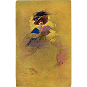 Artist Signed Antique Postcard Woman in Blue and Lavender against Gold Background by Occhipinti