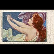 1899 German Postcard Greek Mythology Nymph by Czech Artist Franz Doubek