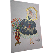 Mystery Artist Ani-Tah Art Deco Fashion Postcard with Gold Overlay