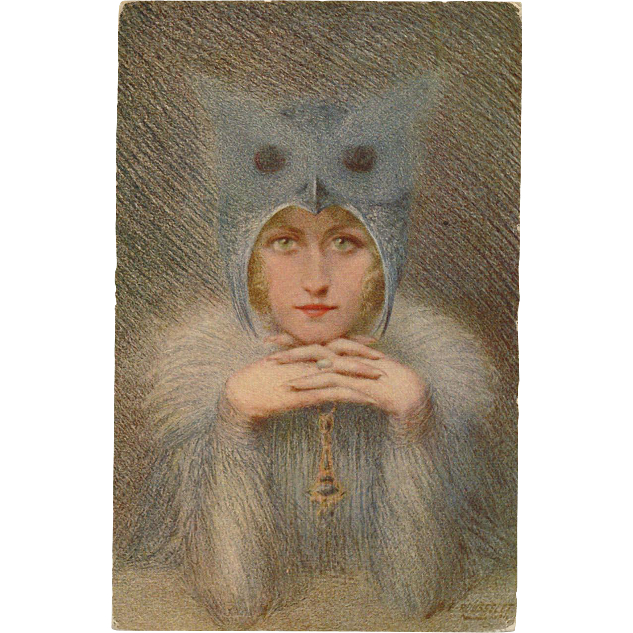 Night Bird Owl Lady Artist Signed Rousselet Unused French Postcard