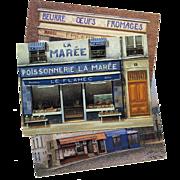 Paris Shop Scenes by French Painter André Renoux Three Unused Postcards