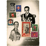Prince Rainier and Grace Kelly Monaco Philatelic Postcard 1956