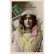 Glamorous Bead Lady Manuel of Paris Real Photo 1911 French Happy New Year Postcard