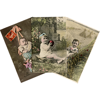 Trio of Toddlers Antique French Postcards Real Photos Colorized by Hand