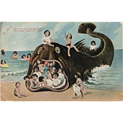 Fantasy Collage of Toddlers and Beached Whale French April First Multiple Babies Postcard with Love Note