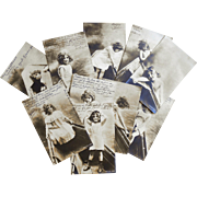 RESERVED for Sally From Fancy to Fun: Real Photo Series Girl Undressing to Play in Water 10 Antique European Postcards