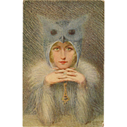 L'Oiseau de Nuit by Rousselet  Night Bird Owl Lady Unused French Lapina  of Paris Postcard