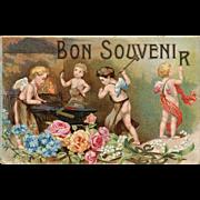Angels Forging Good Memories Bon Souvenir Unused Antique French Postcard