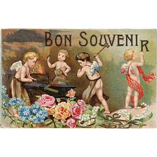 Angels Forging Good Memories Bon Souvenir Unused Antique French Postcard