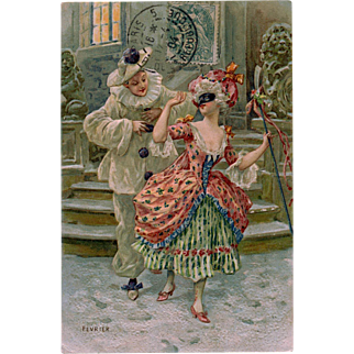 Pierrot and Lady with Mask February Carnival Franked 1904 from France Embossed Chromolithographic Postcard