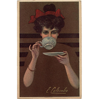 Lady Drinking from Cup Fadeaway Girl Style Artist Signed Unused Italian Postcard