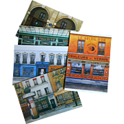 Paris Storefronts by French Painter André Renoux: 5 Unused Postcards Madeleine Gallery, Absinthe, Morris Column and More