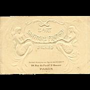 Paris Art Nouveau Antique Advertising Card Embossed with Mermaids