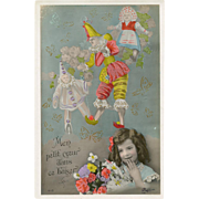 Pierrot and Punch Marionette Antique French Postcard with Metallic Gold Hand Detailing